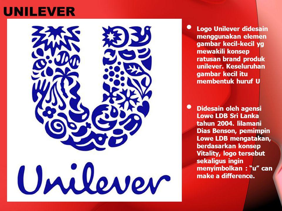 UNILEVER Logo Unilever didesain menggunakan elemen gambar kecil-kecil yg mewakili konsep ratusan brand produk unilever. Keseluruhan gambar kecil itu m
