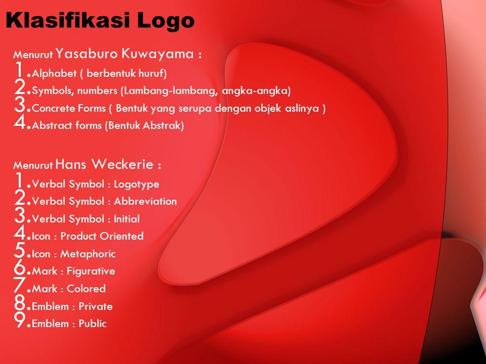 Klasifikasi Logo Menurut Yasaburo Kuwayama : 1. Alphabet ( berbentuk huruf) 2. Symbols, numbers (Lambang-lambang, angka-angka) 3. Concrete Forms ( Ben