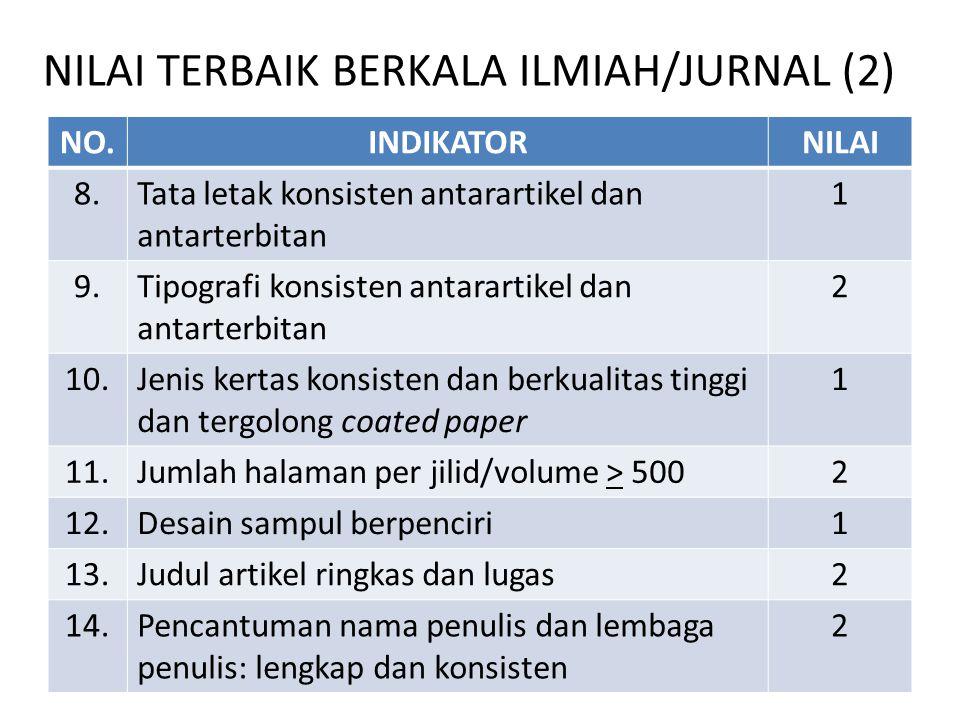 NILAI TERBAIK BERKALA ILMIAH/JURNAL (2) NO.INDIKATORNILAI 8.Tata letak konsisten antarartikel dan antarterbitan 1 9.Tipografi konsisten antarartikel d