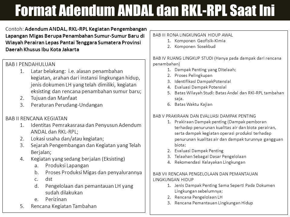 Format Adendum ANDAL dan RKL-RPL Saat Ini BAB I PENDAHULUAN 1.Latar belakang: i.e.