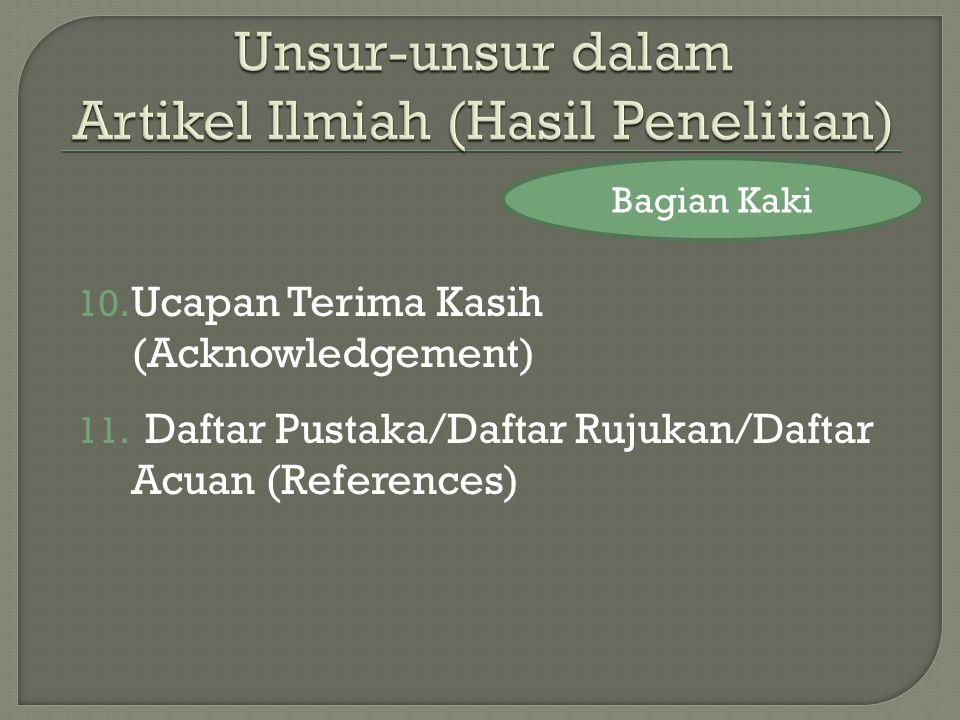 10.Ucapan Terima Kasih (Acknowledgement) 11.