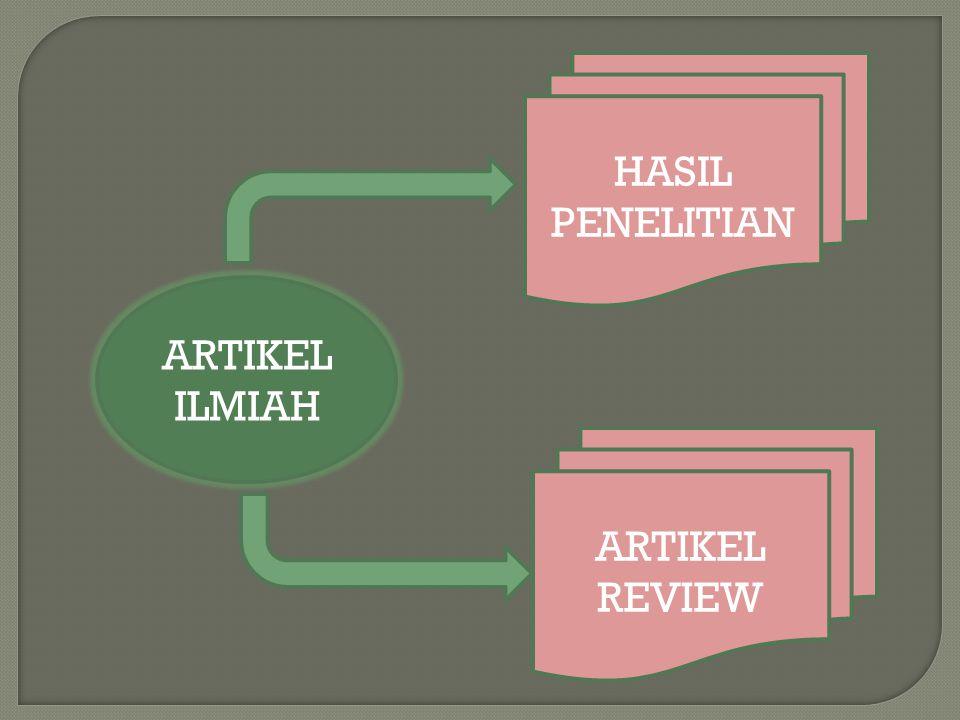 ARTIKEL ILMIAH ARTIKEL REVIEW HASIL PENELITIAN