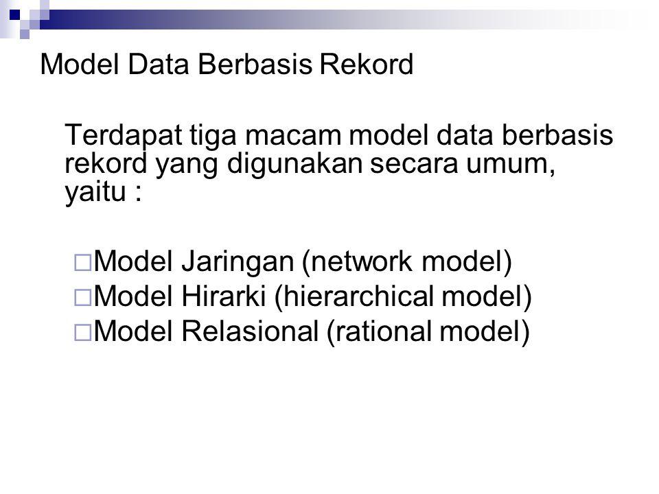 Model Data Berbasis Rekord Terdapat tiga macam model data berbasis rekord yang digunakan secara umum, yaitu :  Model Jaringan (network model)  Model Hirarki (hierarchical model)  Model Relasional (rational model)