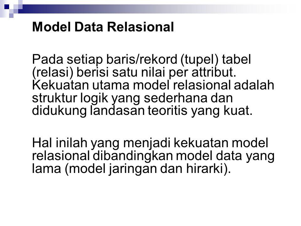 Model Data Relasional Pada setiap baris/rekord (tupel) tabel (relasi) berisi satu nilai per attribut.