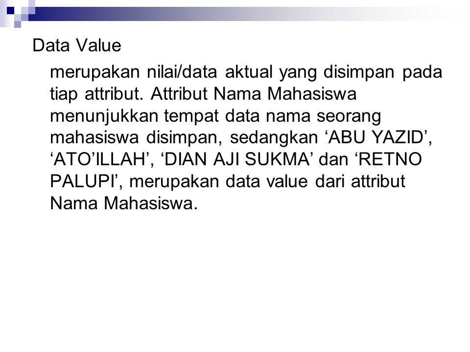 Data Value merupakan nilai/data aktual yang disimpan pada tiap attribut.
