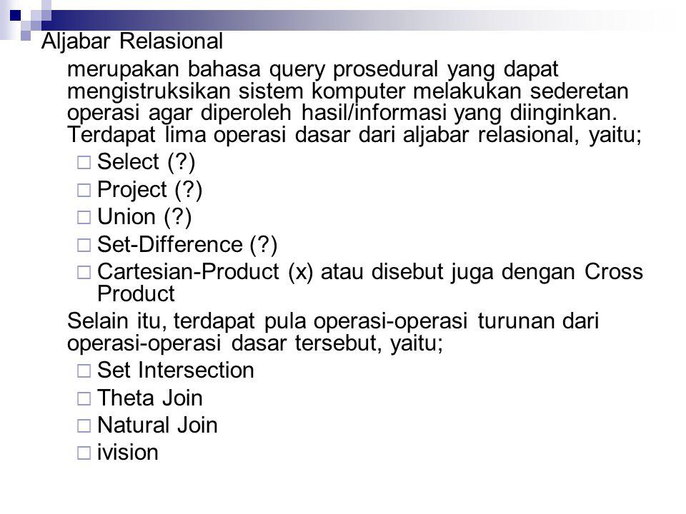 Aljabar Relasional merupakan bahasa query prosedural yang dapat mengistruksikan sistem komputer melakukan sederetan operasi agar diperoleh hasil/informasi yang diinginkan.
