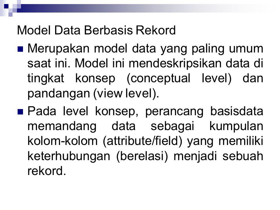 Model Data Berbasis Rekord Merupakan model data yang paling umum saat ini.