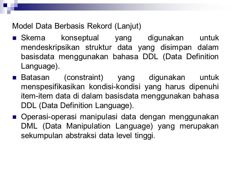 Model Data Berbasis Rekord (Lanjut) Skema konseptual yang digunakan untuk mendeskripsikan struktur data yang disimpan dalam basisdata menggunakan bahasa DDL (Data Definition Language).