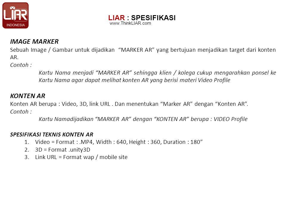 LIAR : SPESIFIKASI IMAGE MARKER Sebuah Image / Gambar untuk dijadikan MARKER AR yang bertujuan menjadikan target dari konten AR.
