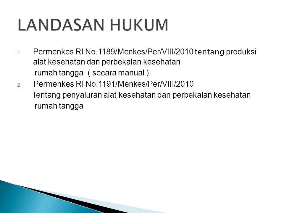 1. Permenkes RI No.1189/Menkes/Per/VIII/2010 tentang produksi alat kesehatan dan perbekalan kesehatan rumah tangga ( secara manual ). 2. Permenkes RI