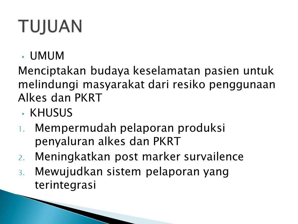 UMUM Menciptakan budaya keselamatan pasien untuk melindungi masyarakat dari resiko penggunaan Alkes dan PKRT KHUSUS 1. Mempermudah pelaporan produksi