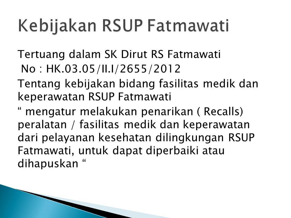 """Tertuang dalam SK Dirut RS Fatmawati No : HK.03.05/II.I/2655/2012 Tentang kebijakan bidang fasilitas medik dan keperawatan RSUP Fatmawati """" mengatur m"""