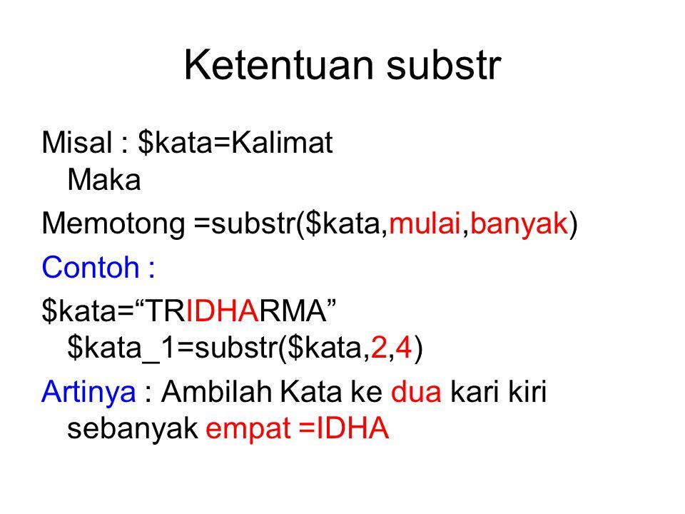 Memotong string dengan substr Substr berfungsi mengambil/memotong substring dari suatu string.