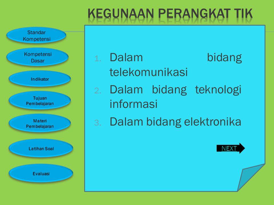  Mengidentifikasi peralatan teknologi informasi dan komunikasi di berbagai bidang  Menjelaskan fungsi berbagai peralatan teknologi informasi dan kom
