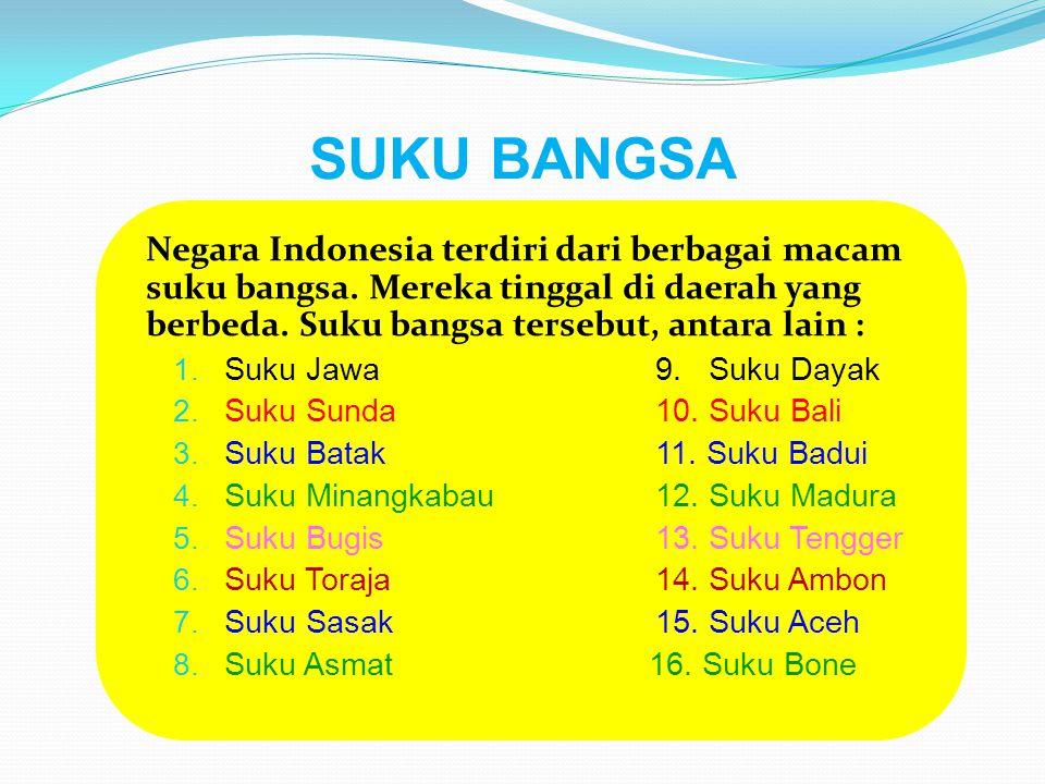 SUKU BANGSA Negara Indonesia terdiri dari berbagai macam suku bangsa. Mereka tinggal di daerah yang berbeda. Suku bangsa tersebut, antara lain : 1. Su