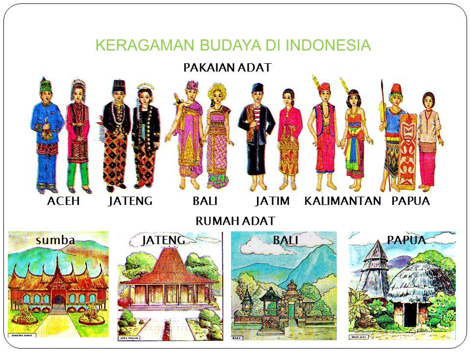 KERAGAMAN BUDAYA DI INDONESIA 12 November 2010 5 ACEH JATENG BALIJATIM KALIMANTAN PAPUA PAKAIAN ADAT RUMAH ADAT sumba JATENG BALI PAPUA