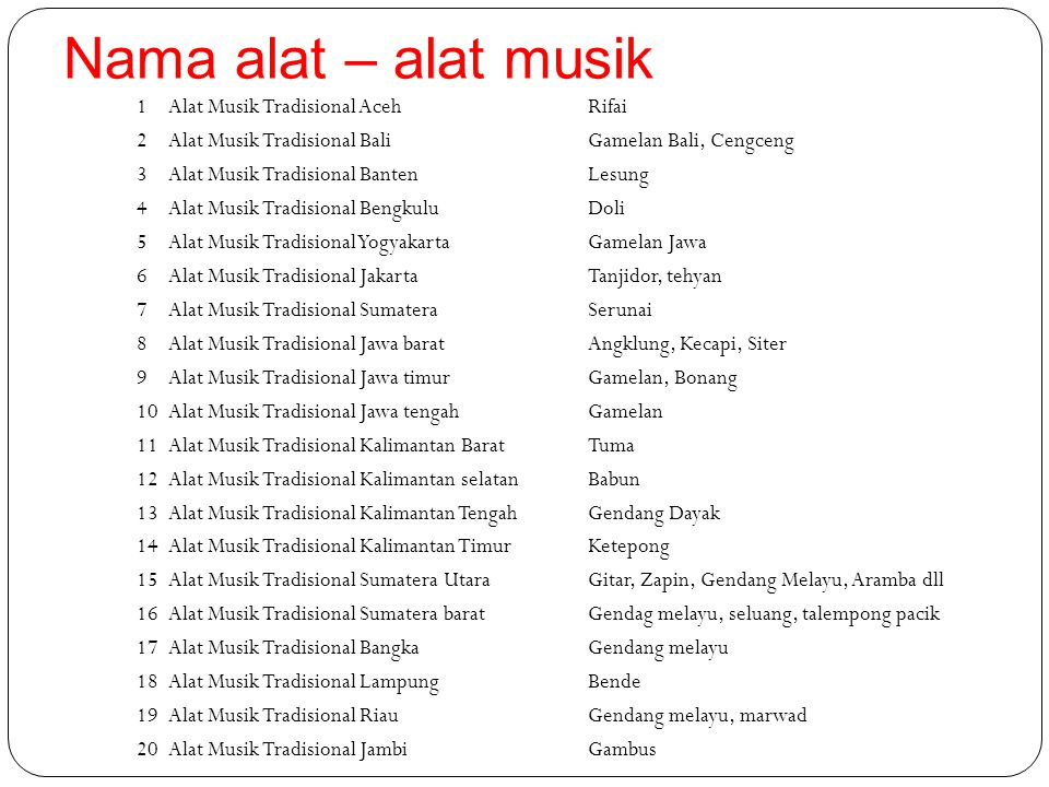 Nama alat – alat musik 1Alat Musik Tradisional AcehRifai 2Alat Musik Tradisional BaliGamelan Bali, Cengceng 3Alat Musik Tradisional BantenLesung 4Alat