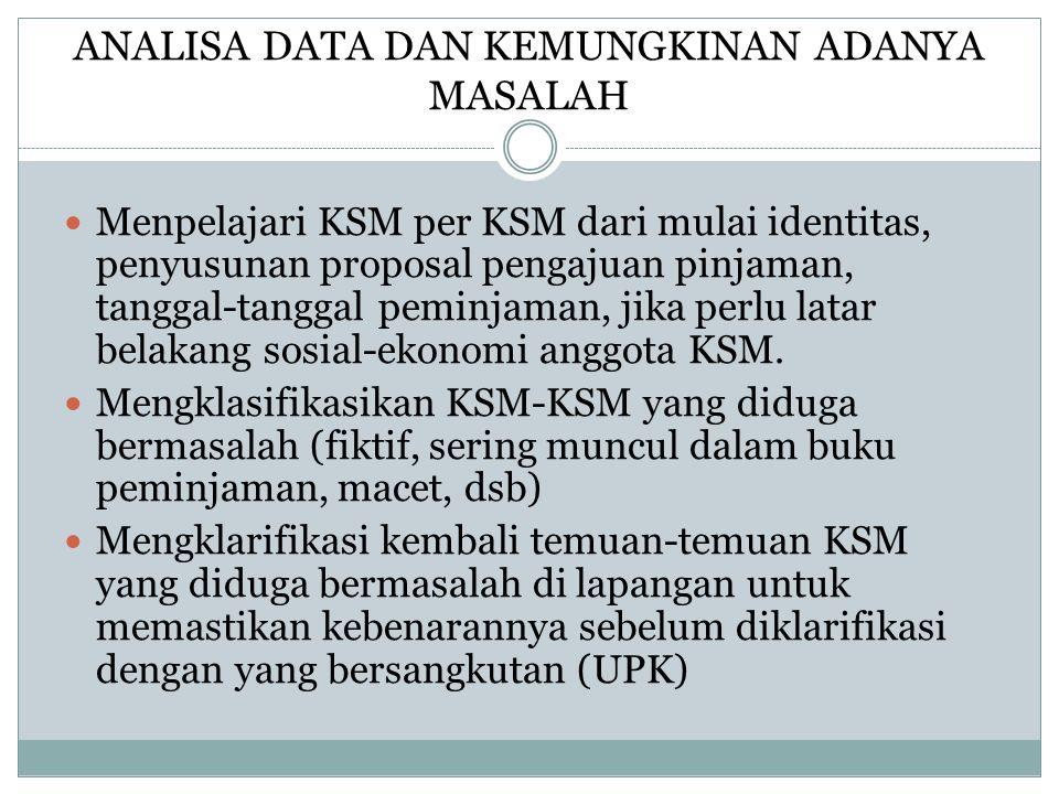 ANALISA DATA DAN KEMUNGKINAN ADANYA MASALAH Menpelajari KSM per KSM dari mulai identitas, penyusunan proposal pengajuan pinjaman, tanggal-tanggal pemi