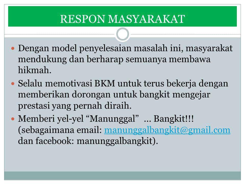 RESPON MASYARAKAT Dengan model penyelesaian masalah ini, masyarakat mendukung dan berharap semuanya membawa hikmah. Selalu memotivasi BKM untuk terus