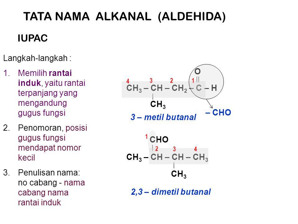 TATA NAMA ALKANAL (ALDEHIDA) Langkah-langkah : 1.Memilih rantai induk, yaitu rantai terpanjang yang mengandung gugus fungsi 2.Penomoran, posisi gugus fungsi mendapat nomor kecil 3.Penulisan nama: no cabang - nama cabang nama rantai induk IUPAC CH 3 – CH – CH 2 – C – H | || CH 3 O – CHO 1 2 3 4 3 – metil butanal CH 3 – CH – CH – CH 3 | CH 3 | CHO 2 1 34 2,3 – dimetil butanal