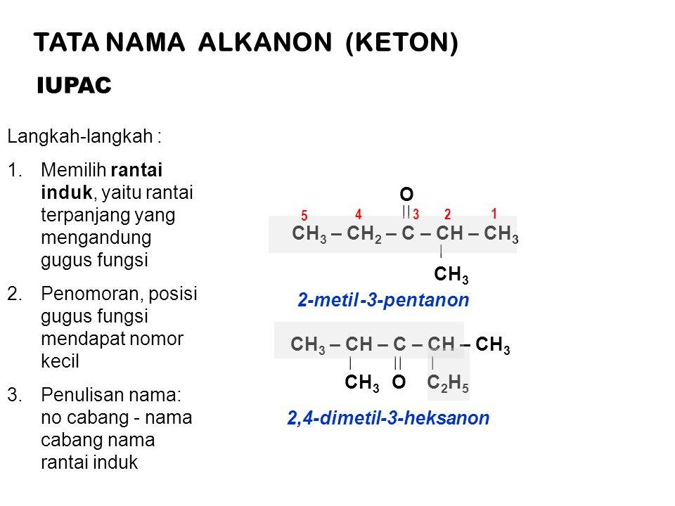 TATA NAMA ALKANON (KETON) IUPAC Langkah-langkah : 1.Memilih rantai induk, yaitu rantai terpanjang yang mengandung gugus fungsi 2.Penomoran, posisi gugus fungsi mendapat nomor kecil 3.Penulisan nama: no cabang - nama cabang nama rantai induk CH 3 – CH 2 – C – CH – CH 3 || | CH 3 O 43 2 5 1 2-metil -3-pentanon CH 3 – CH – C – CH – CH 3 || | | CH 3 OC2H5C2H5 2,4-dimetil-3-heksanon