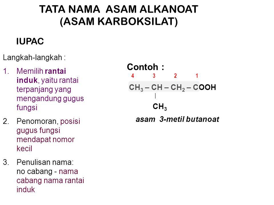 TATA NAMA ASAM ALKANOAT (ASAM KARBOKSILAT) IUPAC Langkah-langkah : 1.Memilih rantai induk, yaitu rantai terpanjang yang mengandung gugus fungsi 2.Penomoran, posisi gugus fungsi mendapat nomor kecil 3.Penulisan nama: no cabang - nama cabang nama rantai induk Contoh : CH 3 – CH – CH 2 – COOH CH 3 | asam 3-metil butanoat 1234