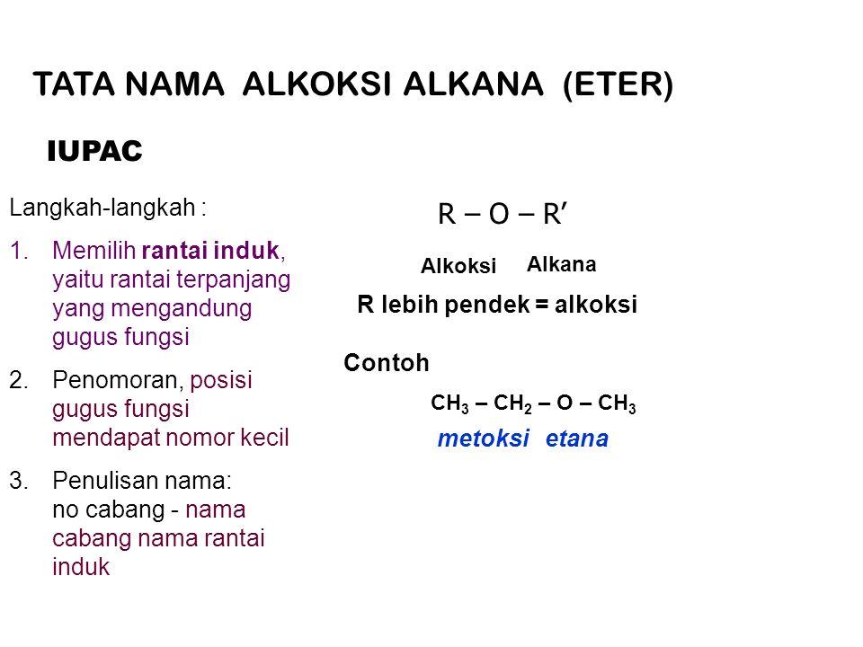 Langkah-langkah : 1.Memilih rantai induk, yaitu rantai terpanjang yang mengandung gugus fungsi 2.Penomoran, posisi gugus fungsi mendapat nomor kecil 3.Penulisan nama: no cabang - nama cabang nama rantai induk IUPAC R – O – R' Alkoksi Alkana R lebih pendek = alkoksi CH 3 – CH 2 – O – CH 3 metoksietana Contoh TATA NAMA ALKOKSI ALKANA (ETER)