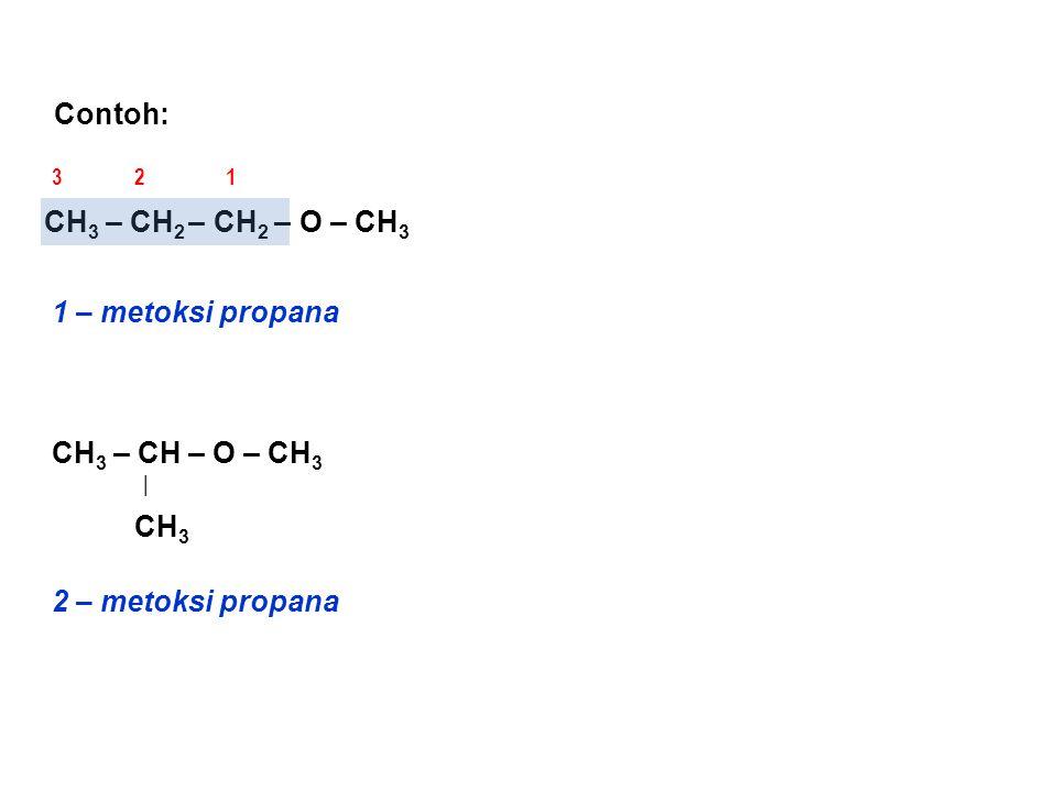 TRIVIAL Trivial adalah penamaan yang lazim, dan eter biasanya dinamai sebagai alkil alkil eter dengan alkil rantai pendek disebut terlebih dahulu Contoh : CH 3 – O – CH 3 CH 3 – CH 2 – O – CH 3 CH 3 – CH 2 – CH 2 – O – CH 3 CH 3 – CH – O – CH 3 | CH 3 ( dimetil eter ) ( metil etil eter ) ( metil propil eter ) ( metil isopropil eter )