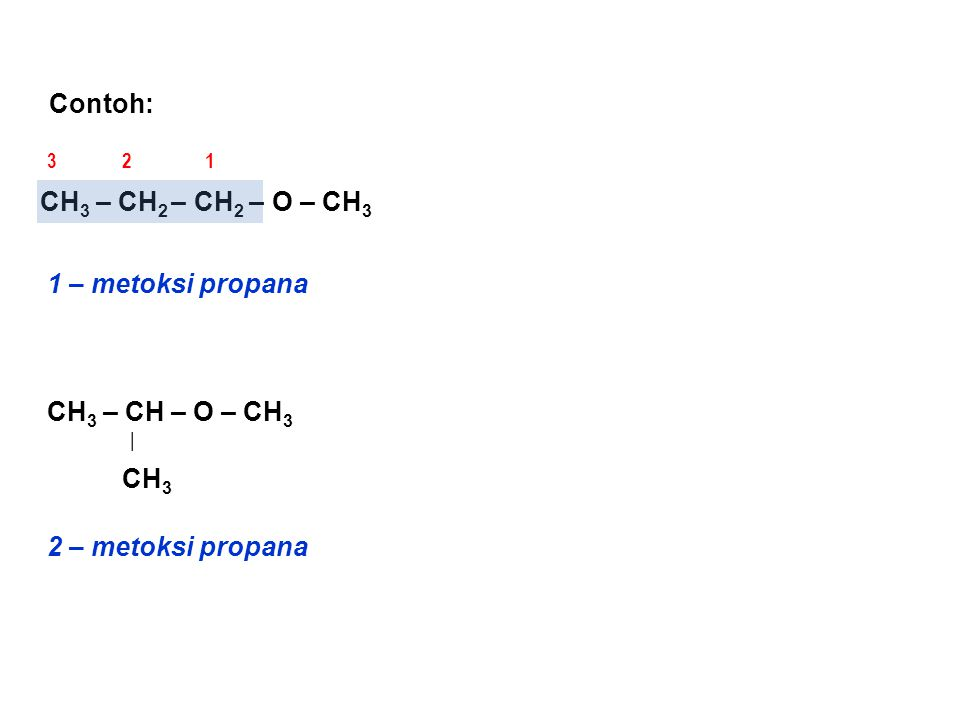 Contoh: CH 3 – CH – O – CH 3   CH 3 1 – metoksi propana CH 3 – CH 2 – CH 2 – O – CH 3 123 2 – metoksi propana
