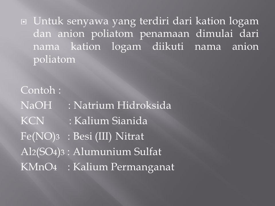 ION POLIATOMNAMA ION POLIATOMION POLIATOMNAMA ION POLIATOM NH 4 + OH - CO 3 2- CH 3 COO - CN - OCN - SCN - C 2 O 4 2- NO 2 - NO 3 - ClO - ClO 2 - ClO