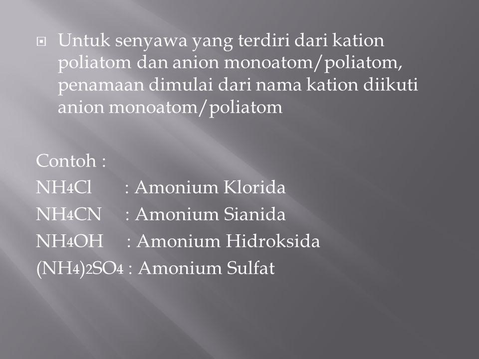  Untuk senyawa yang terdiri dari kation logam dan anion poliatom penamaan dimulai dari nama kation logam diikuti nama anion poliatom Contoh : NaOH :