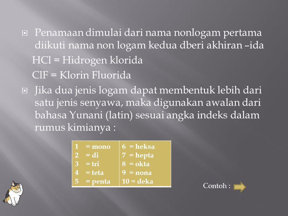  Penamaan dimulai dari nama nonlogam pertama diikuti nama non logam kedua dberi akhiran –ida HCl = Hidrogen klorida ClF = Klorin Fluorida  Jika dua jenis logam dapat membentuk lebih dari satu jenis senyawa, maka digunakan awalan dari bahasa Yunani (latin) sesuai angka indeks dalam rumus kimianya : 1= mono 2= di 3= tri 4= teta 5= penta 6 = heksa 7 = hepta 8 = okta 9 = nona 10 = deka Contoh :
