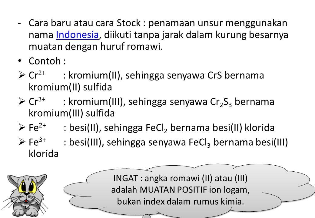 - Cara baru atau cara Stock : penamaan unsur menggunakan nama Indonesia, diikuti tanpa jarak dalam kurung besarnya muatan dengan huruf romawi.Indonesi