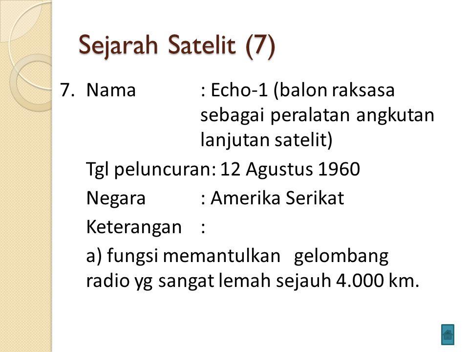 Sejarah Satelit (7) 7.Nama: Echo-1 (balon raksasa sebagai peralatan angkutan lanjutan satelit) Tgl peluncuran: 12 Agustus 1960 Negara: Amerika Serikat Keterangan: a) fungsi memantulkan gelombang radio yg sangat lemah sejauh 4.000 km.