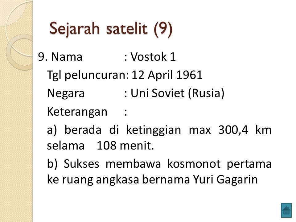 Sejarah satelit (9) 9. Nama : Vostok 1 Tgl peluncuran: 12 April 1961 Negara : Uni Soviet (Rusia) Keterangan: a) berada di ketinggian max 300,4 km sela