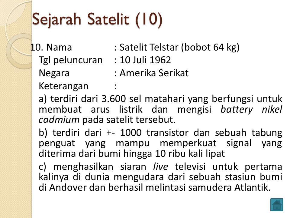 Sejarah Satelit (10) 10. Nama: Satelit Telstar (bobot 64 kg) Tgl peluncuran: 10 Juli 1962 Negara: Amerika Serikat Keterangan: a) terdiri dari 3.600 se