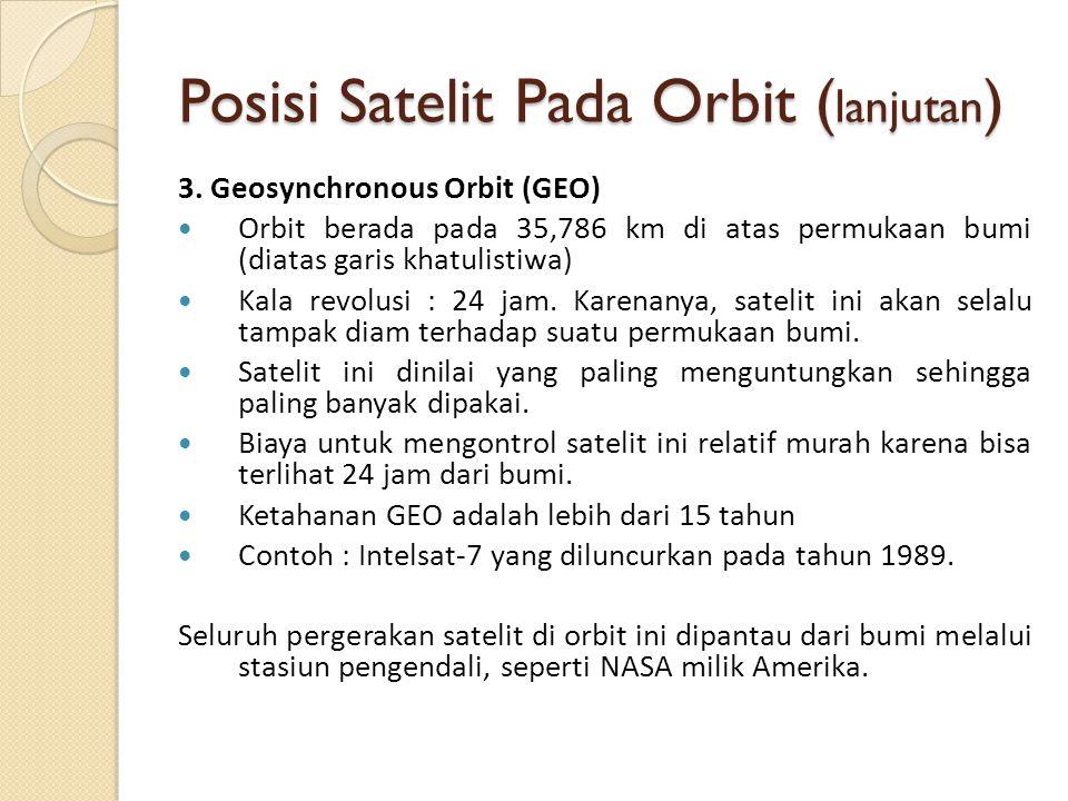 Posisi Satelit Pada Orbit ( lanjutan ) 3. Geosynchronous Orbit (GEO) Orbit berada pada 35,786 km di atas permukaan bumi (diatas garis khatulistiwa) Ka