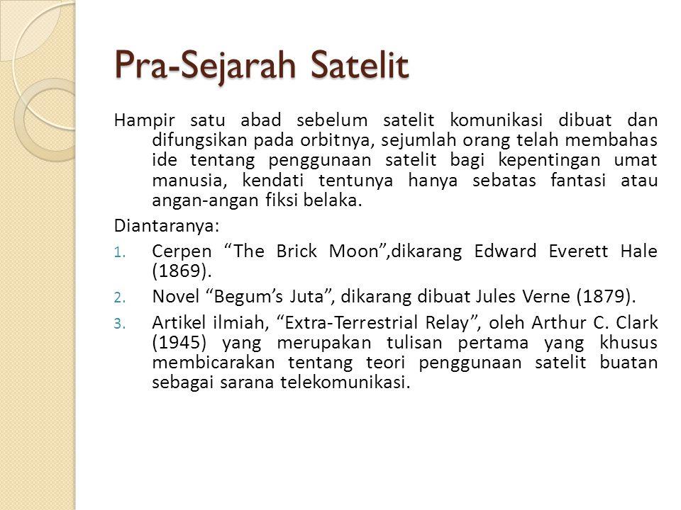 Pra-Sejarah Satelit Hampir satu abad sebelum satelit komunikasi dibuat dan difungsikan pada orbitnya, sejumlah orang telah membahas ide tentang penggu