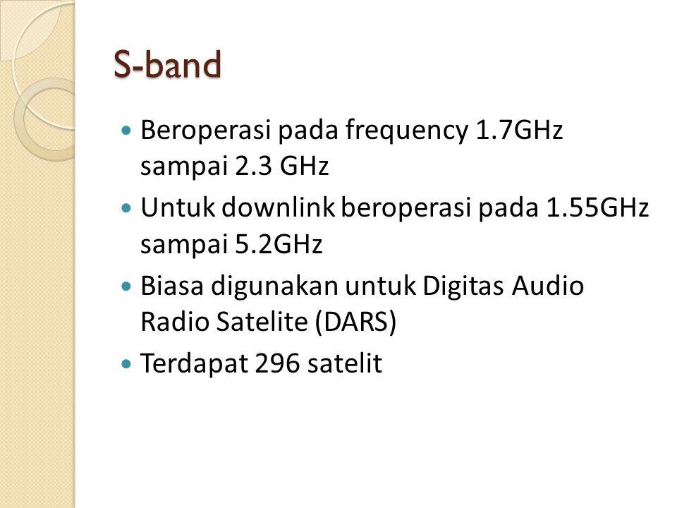 S-band Beroperasi pada frequency 1.7GHz sampai 2.3 GHz Untuk downlink beroperasi pada 1.55GHz sampai 5.2GHz Biasa digunakan untuk Digitas Audio Radio Satelite (DARS) Terdapat 296 satelit