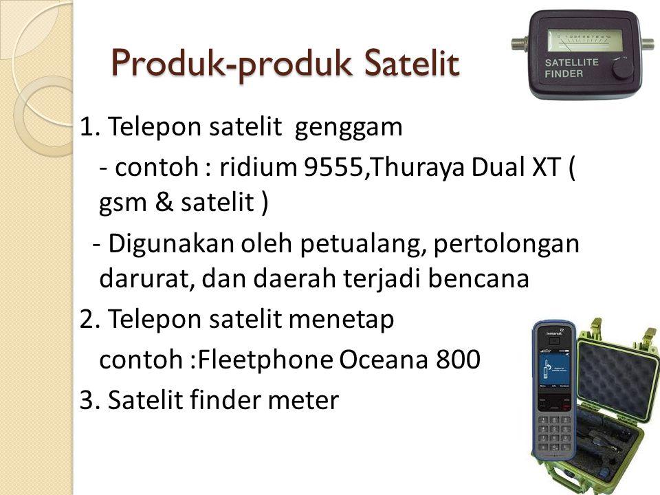 Produk-produk Satelit 1. Telepon satelit genggam - contoh : ridium 9555,Thuraya Dual XT ( gsm & satelit ) - Digunakan oleh petualang, pertolongan daru