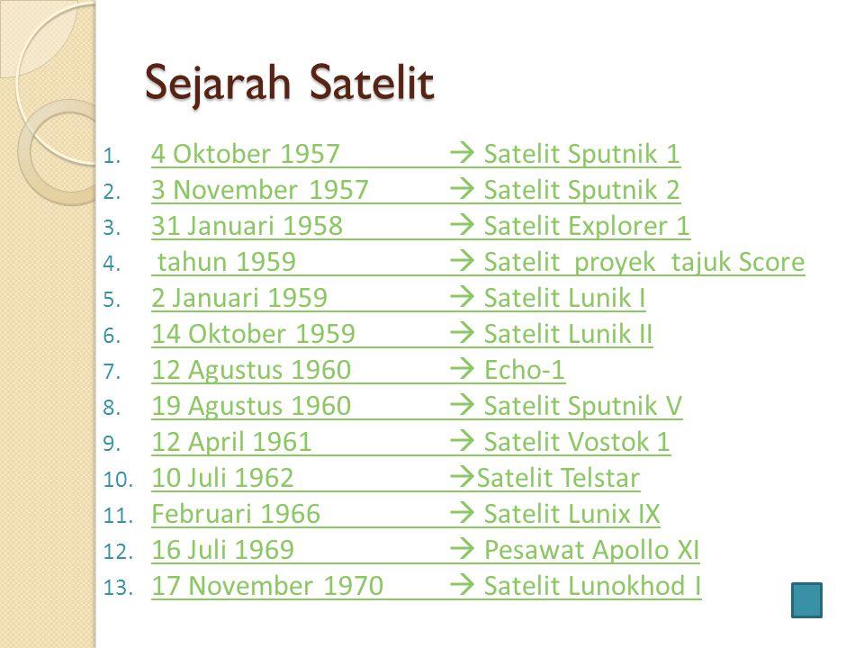 Sejarah Satelit 1. 4 Oktober 1957  Satelit Sputnik 1 4 Oktober 1957  Satelit Sputnik 1 2. 3 November 1957  Satelit Sputnik 2 3 November 1957  Sate
