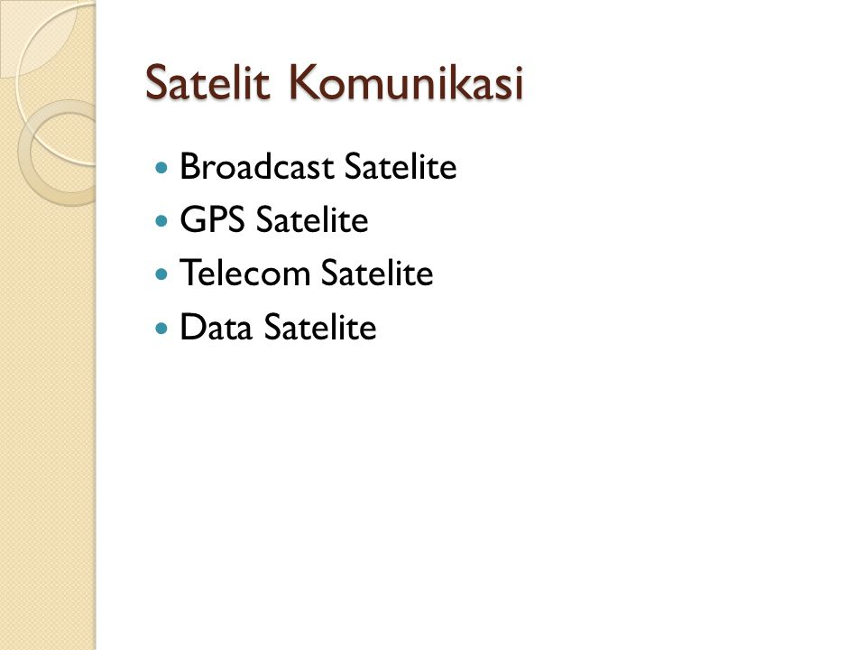 Satelit Komunikasi Broadcast Satelite GPS Satelite Telecom Satelite Data Satelite