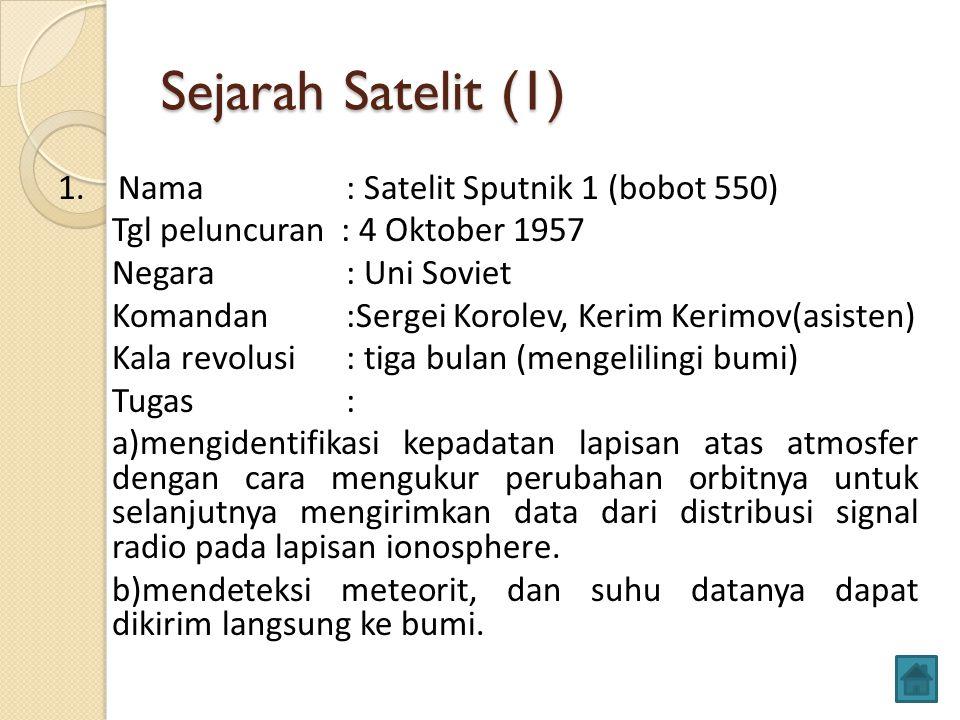 Sejarah Satelit (1) 1. Nama : Satelit Sputnik 1 (bobot 550) Tgl peluncuran : 4 Oktober 1957 Negara: Uni Soviet Komandan:Sergei Korolev, Kerim Kerimov(