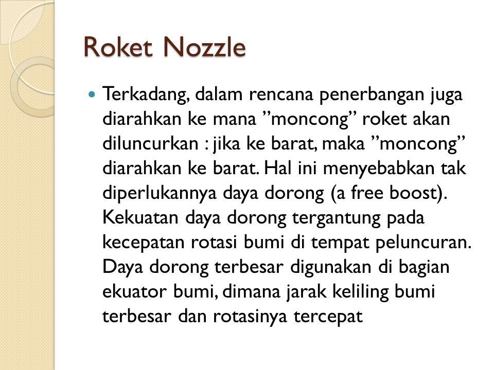 Roket Nozzle Terkadang, dalam rencana penerbangan juga diarahkan ke mana moncong roket akan diluncurkan : jika ke barat, maka moncong diarahkan ke barat.