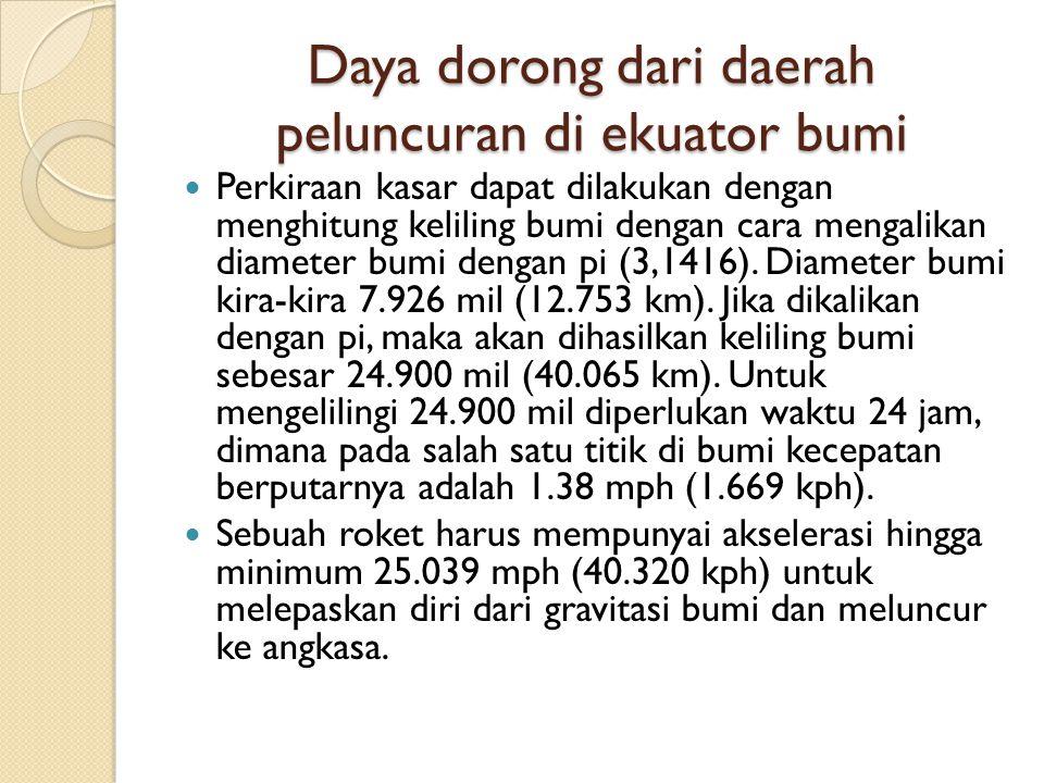 Daya dorong dari daerah peluncuran di ekuator bumi Perkiraan kasar dapat dilakukan dengan menghitung keliling bumi dengan cara mengalikan diameter bumi dengan pi (3,1416).