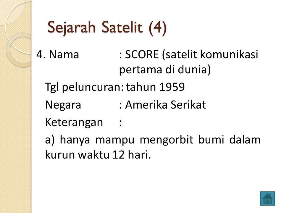 Sejarah Satelit (4) 4. Nama : SCORE (satelit komunikasi pertama di dunia) Tgl peluncuran: tahun 1959 Negara: Amerika Serikat Keterangan: a) hanya mamp