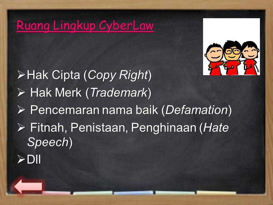 Ruang Lingkup CyberLaw  Hak Cipta (Copy Right)  Hak Merk (Trademark)  Pencemaran nama baik (Defamation)  Fitnah, Penistaan, Penghinaan (Hate Speech)  Dll