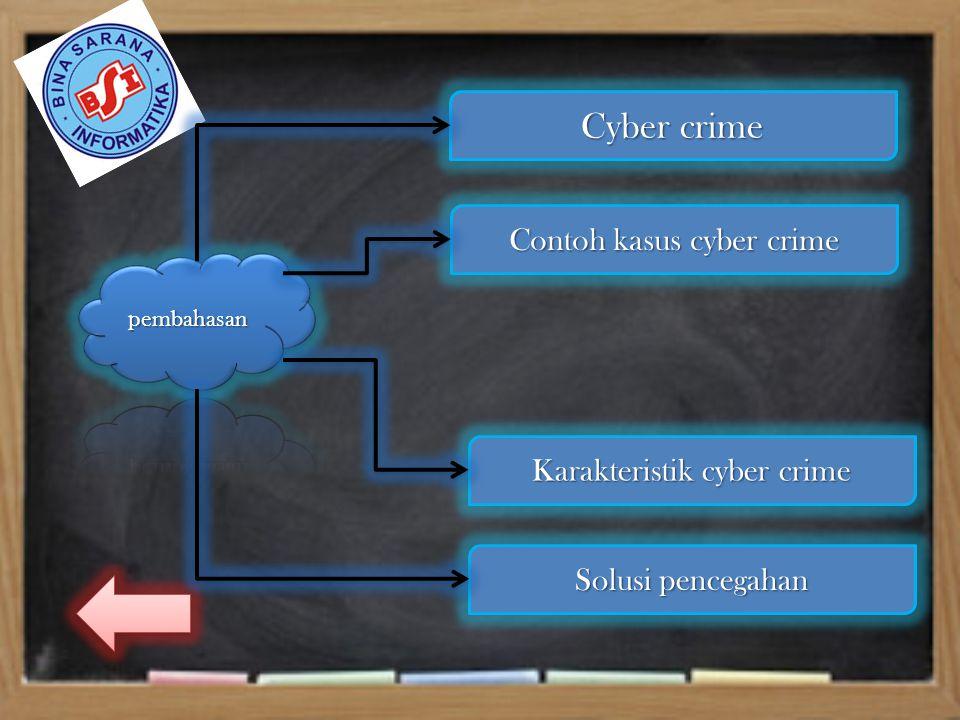 Cyber crime Cyber crime Contoh kasus cyber crime Contoh kasus cyber crime Karakteristik cyber crime Karakteristik cyber crime Solusi pencegahan Solusi pencegahan