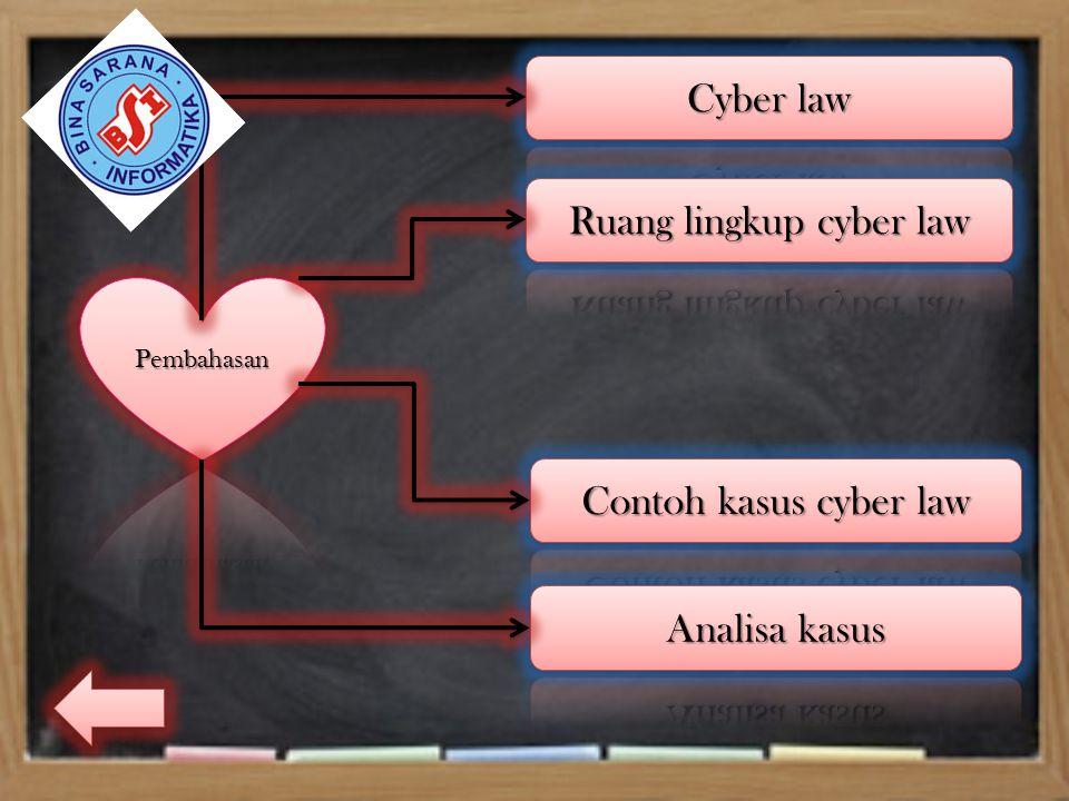 Cyber law Cyberlaw adalah hukum yang digunakan di dunia cyber (dunia maya) yang umumnya diasosiasikan dengan internet.