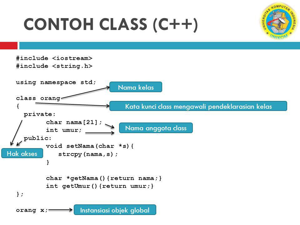CONTOH CLASS (C++) #include using namespace std; class orang { private: char nama[21]; int umur; public: void setNama(char *s){ strcpy(nama,s); } char *getNama(){return nama;} int getUmur(){return umur;} }; orang x; Kata kunci class mengawali pendeklarasian kelas Nama kelas Hak akses Nama anggota class Instansiasi objek global